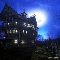 Halloween-dark-forest-mansion-wallpaper