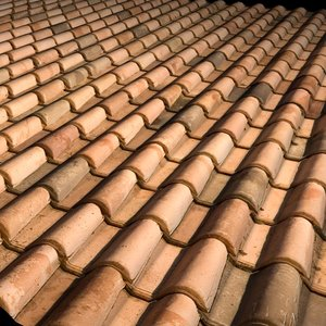Modern bicolor Terra Cotta Roof Tiles ----- High Resolution