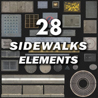 Sidewalk & Street Elements Layer Pack