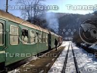 Train on narrow-gauge rail station