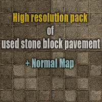 High resolution pack of used stone block pavements 1 + normal map
