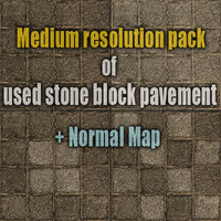 Medium resolution pack of used stone block pavements 1 + normal map