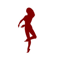 Flash Animation Dance: Ballet Dance 04 (Woman with long hair) maroon