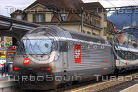 SWISS RE 460 LOCOMOTIVE AND INTERLAKEN OST STATION