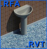 Revit plumbing fixtures sink 03 2D&3D