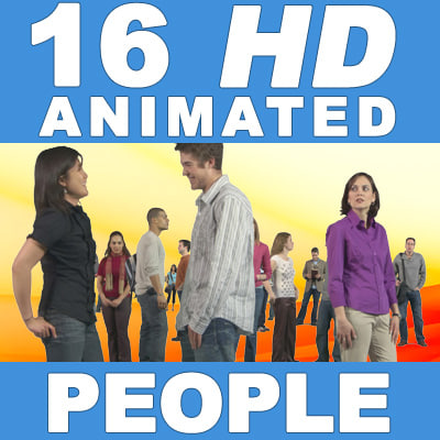 16 HD Animated People - Casual Standing - v1