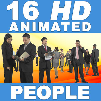 16 HD Animated People - Business Standing - v1