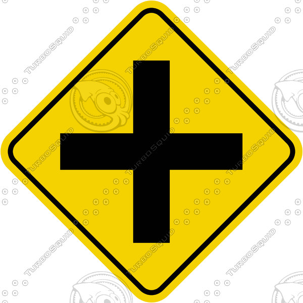Caution 4 Way Intersection Sign