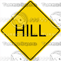 Caution Hill Sign