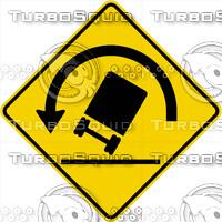 Caution Truck Tip Left Sign