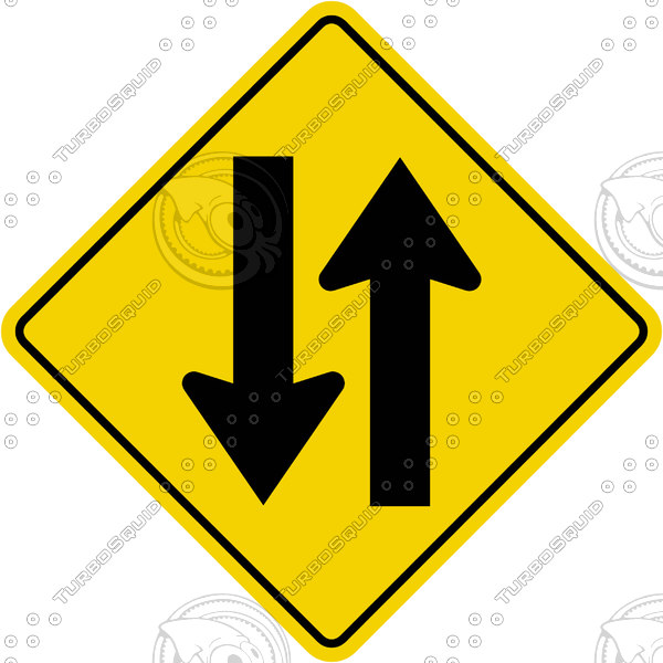 Caution Two Way Traffic Sign