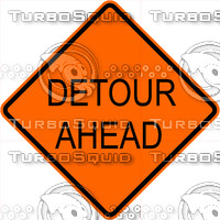 Construction Detour Ahead Sign