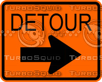 Constuction Detour Right Arrow Sign