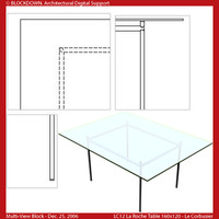 LC12 Table Glass Top 160x120 Multi-View Block