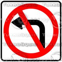No Left Turn Symbol Sign