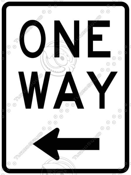 One Way Left Sign 2