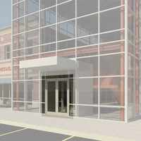 Curtain Wall Storefront Door - Double