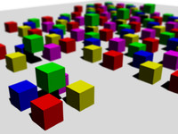 coloured cubes with focus