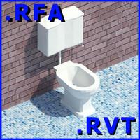 Revit plumbing fixtures closet 02 2D & 3D