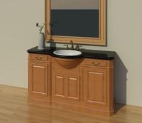 Bow Front Custom Vanity w/ sink