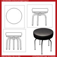 LC8 Turning Chair 5 Legs Multi-View Block