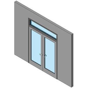 Hollow Metal Swing Door, Double With Transom