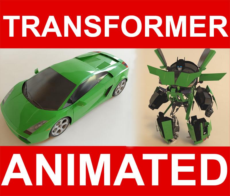 transformer robot character 3d model