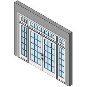 Wood Exterior Entry Swing Door, Double With Sidelites And Transom