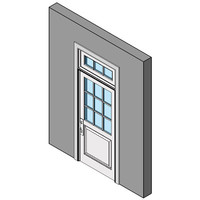 Wood Exterior Entry Swing Door, Single With Transom