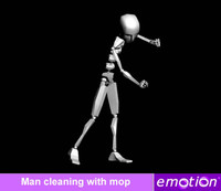 emo0007-Man cleaning with mop