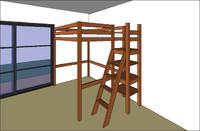 Lit mezzanine avec tour
