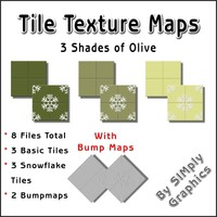 Tile Texture Maps - 3 Shades of Olive