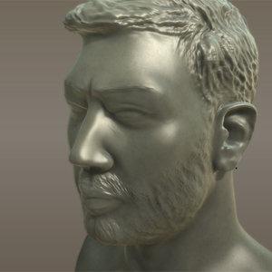 3ds max mans head beard