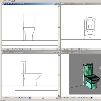 Revit plumbing fixtures closet 01 2D & 3D