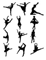 Ballet figure silhouettes