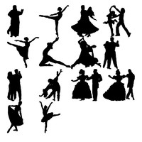 Dance figure silhouettes