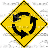 Caution Round About Sign