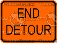 Construction End Detour Sign