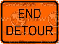 Construction End Detour Sign
