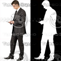 Business man with cell phone 11 - cut out from background with alpha mask