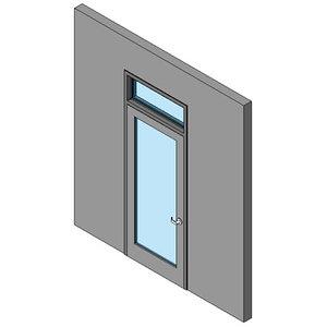Hollow Metal Swing Door, Single With Transom