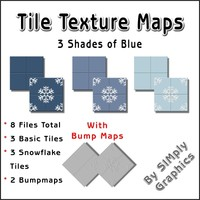 Tile Texture Maps - 3 Shades of Blue