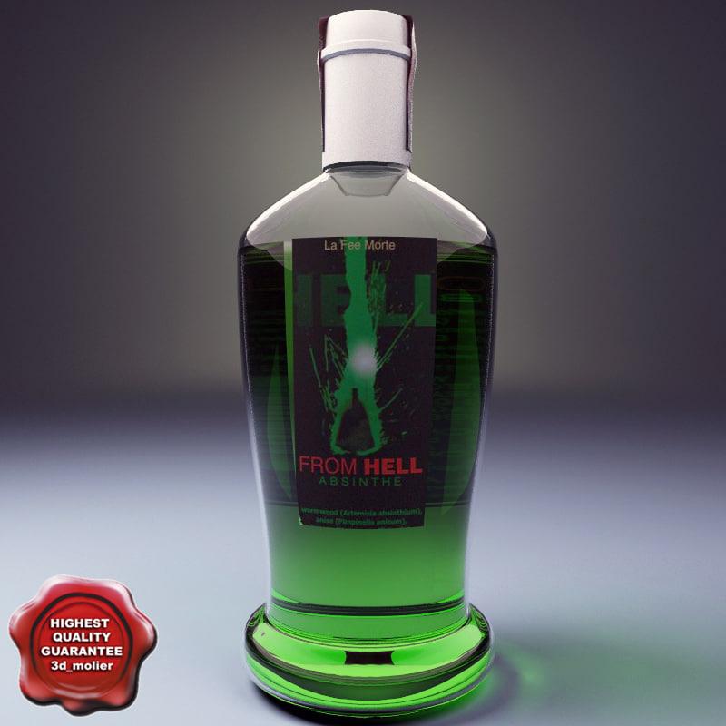 3d model of bottle absinthe liqueur