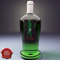 Bottle with absinthe liqueur