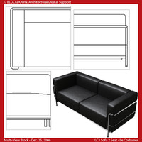 LC3 Sofa 2 Seat Multi-View Block