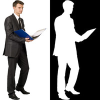 Business man with file 02 - cut out from background with alpha mask