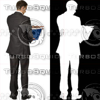 Business man with blue file 06 - cut out from background with alpha mask