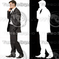 Business man with cell phone 08 - cut out from background with alpha mask
