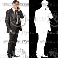Business man with cell phone 09 - cut out from background with alpha mask