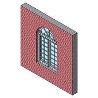 Fixed Window, Double With Half-round Transom